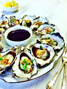 Oysters with Fried Ginger & Ponzu Sauce Recipe - Shine Dining
