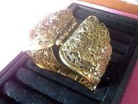 Vintage Clamper Bracelet Filigree Gold Plated Chunky