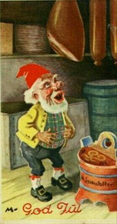 Julekort Ivar Mauritz-Hansen utg Damm 1947 Merry Christmas And Happy New Year, Christmas Elf, Christmas Cards, Norwegian Christmas, Scandinavian Christmas, Christmas Postcards, Vintage Cards, Vintage Postcards, Elves