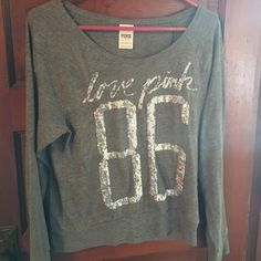 VS Pink Sequin Long Sleeve Top Victoria's Secret PINK long sleeve grey top with sequins on the front. Light material. great condition. So cute and comfortable! Size extra small. PINK Victoria's Secret Tops Tees - Long Sleeve