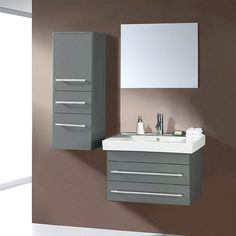 Virtu USA Antonio 27.6-in. Wall Mount Grey Single Bathroom Vanity Set UM-3081 | from hayneedle.com