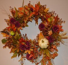 Shop for on Etsy, the place to express your creativity through the buying and selling of handmade and vintage goods. Wreaths For Front Door, Door Wreaths, Fall Wreaths, Gourds, Harvest, Thanksgiving, Pumpkin, Creative, Handmade