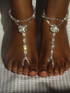 Swarovski Barefoot Sandals Bridal Jewelry by SubtleExpressions