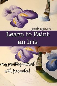 Learn to paint Iris one stroke at a time. How to Paint an Iris in acrylics, an eas, step by step painting tutorial with video. You can learn how to paint an Iris one simple stroke at a time! Iris Painting, Acrylic Painting Flowers, Acrylic Painting Techniques, One Stroke Painting, Fabric Painting, Watercolor Flowers, Painting & Drawing, Time Painting, Matte Painting