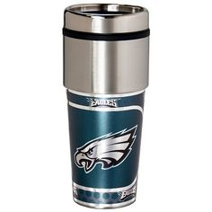 Enjoy your favorite beverage with this insulated stainless steel Philadelphia Eagles thermal tumbler. The tumbler is decorated with hi-definition metallic graphics with the Eagles logo. NFL officially