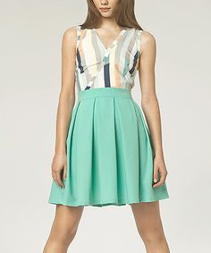This Mint Stripe Surplice Fit & Flare Dress by NIFE is perfect! #zulilyfinds