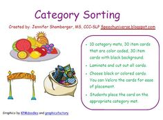 Speech Universe: Category Sorting-great activity for various difficulty levels. Pinned by SOS Inc. Resources. Follow all our boards at pinterest.com/sostherapy for therapy resources.