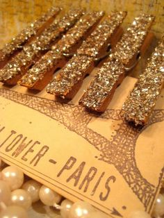 Glittered and Antiqued Silver Clothespins...