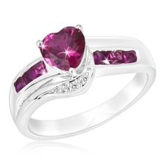 $12.99 - 1.22 Carat Created Ruby and Diamond Accent Sterling Silver Heart Ring