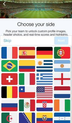 On #Twitter you May choose your side and have its flag as avatar. Go to the hashtag #WorldCup #smo #socialmedia #CM #cdm2014 #worldcup2014