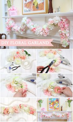 DIY Floral Garland by @Courtney Baker Baker Whitmore {Pizzazzerie.com}! Isn't this just darling?