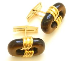 Cartier 18k Gold and Tiger's Eye Cufflinks by Cartier, circa 1970