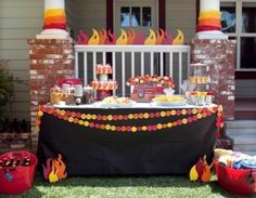 fireman birthday party table www.spaceshipsandlaserbeams.com