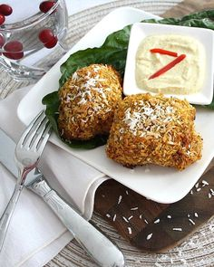 Oven Baked Crispy Coconut-Masala Chicken Thighs with a Curried Yogurt Dipping Sauce
