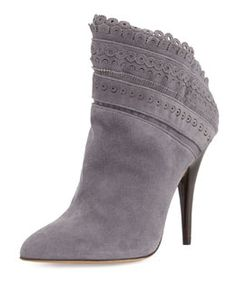 X298W Tabitha Simmons Harmony Scalloped Ankle Boot, Gray