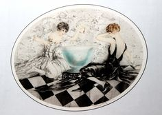 Lot: Louis Icart - Mischievious, Lot Number: 0158, Starting Bid: $850, Auctioneer: Great Dane Auctions, Auction: Holiday Modern and Contemporary Fine Art Sale, Date: December 22nd, 2016 PST