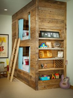 great built-in rustic / log bunk beds / nook with bookshelf - I would have totally loved this as a kid (still would!)