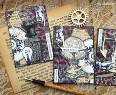 "Gelli ATC set ""Time Traveler"" Welcome to my blog!   Today I would like to show you the result of another playing with Gelli, made for ScrapArt.cz .   I tried v..."