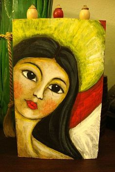 FOLK ART ANGEL CLOSE UP ON WOOD 2