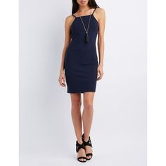 Charlotte Russe Bib Neck Bodycon Dress ($20) ❤ liked on Polyvore featuring dresses, navy, navy blue bodycon dress, charlotte russe, navy bodycon dress, backless midi dress and strappy midi dress