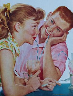 Young love and a chocolate soda. rero vintage 50s fifties illustration milkshake milk bar diner
