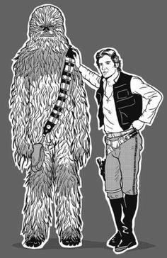 Camiseta Han Solo e Chewbacca