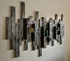 Great Abstract Wall Art and Shelf from Rustic Barn Wood – get boards from WW shed? Would be awesome! The post Abstract Wall Art and Shelf from Rustic Barn Wood – get boards from WW shed? Diy Wood Wall, Reclaimed Wood Wall Art, Rustic Wood Walls, Wooden Wall Decor, Rustic Wall Decor, Wooden Walls, Barn Wood, Rustic Barn, Wood Shelf