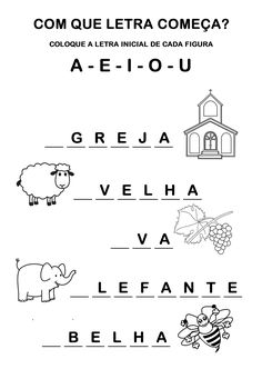 Atividades Com Vogais Para Alfabetização Infantil - Desenhos Para Colorir