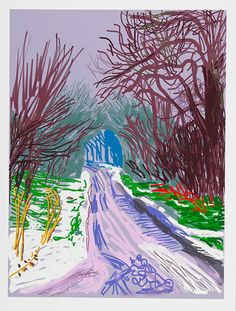 David Hockney The Arrival of Spring in Woldgate, East Yorkshire in 2011 (twenty eleven) - 4 January, 2011 Annely Juda Fine Art David Hockney Ipad, David Hockney Art, David Hockney Paintings, Pop Art, Landscape Art, Landscape Paintings, Oil Paintings, Indian Paintings, Abstract Paintings