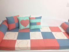 Colcha e almofadas para o meu sofá cama