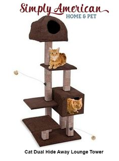 The attractive multilevel design provides a variety of options for play and rest. The Dual Hide-Away & Lounge Tower with Bamboo Rubbing Posts comes in Mocha Brown.