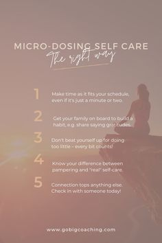 There are so many ways to practice self-care, even if it's really only a micro-dose: Looking into the bathroom mirror and telling yourself, I love you. Sitting down for a minute and meditate. Taking five deep breaths before getting out of bed.⠀