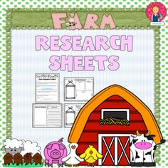 Research Sheets {Farm Themed} Sheep Pig, School Jobs, Animal Projects, Research Projects, Teacher Pay Teachers, Primary School, Farm Animals, Activities For Kids, Kindergarten