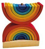Part of the range of fantastic building elements from Grimm's Spiel and Holz Design, this large Double Rainbow Stacking Tower is twice the fun! A high quality Waldorf toy, it is made of solid wood (Alder) and represents the element 'air.'  It has a natural wooden base with 14 bright, colorful stacking rainbow arch pieces with holes to allow them to be stacked onto the stand. The pieces of this multi-use toy can be combined with other stacking/building toys, or used individually for…