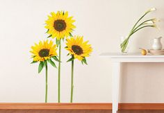 Wall Decals - Sunflowers Wall Decal - Beautiful floral Home Decor