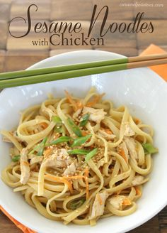 Sesame Noodles with Chicken - an amazing blend of peanut butter, garlic, ginger and toasted sesame seeds. Love it!