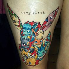 Pokemon Eeveeloutions  tattoo that was posted by Troy Slack of Frontyard Tattoo in Mount Barker, Australia.