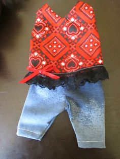 """Baby Alive Doll Clothes Red Bandana Dress Jean Look Stretch Pants 12 13"""" Dolls 