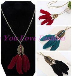 Fashion Women Retro Bronze Waterdrop Feather Leaf Pendant Sweater Chain Necklace #newfeeling #Pendant