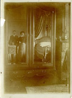 Reflections of the past, ca. 1905 Who knew mirror pics dated back to 1905!?!