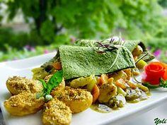 Пуешко със зеленчуци под зелено килимче