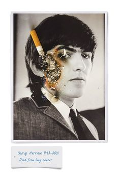 Cigarette-Burnt Photos Of Pop Culture Icons Who Lost Their Lives To Smoking - DesignTAXI.com