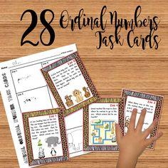 Animal ordinal number task cards.  4 themes.