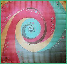 """Купить Шелковый платок батик """"Спираль"""" - коралловый, абстрактный, Батик, батик платок, холодный батик"""