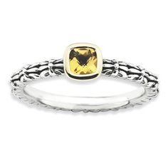 Stackable Expressions Sterling Silver & 14k Checker-cut Citrine Antiqued Ring