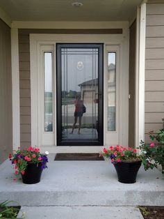 Black Front Door With Storm Door   My Wish List? New Handles/hardware!