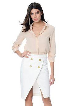 CASANALI | Asymmetrical Gold Button Skirt  www.casanali.com