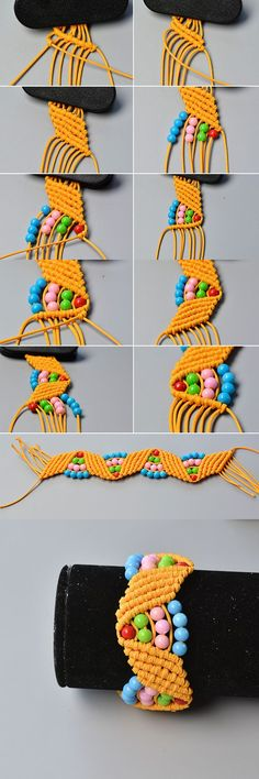 Like the colorful beads braided bracelet?The tutorial will be published by LC. Diy Bracelets Easy, Bracelet Crafts, Braided Bracelets, Jewelry Crafts, Leather Bracelets, Leather Cuffs, Macrame Jewelry, Macrame Bracelets, Jewelry Necklaces