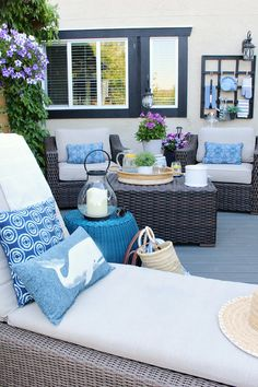 Back Deck Decorating Ideas. 6 Back Deck Decorating Ideas. 27 Screened and Roofed Back Porch Decor Ideas Shelterness Resin Wicker Furniture, Deck Furniture, Outdoor Furniture Sets, Patio Deck Designs, Patio Design, Garden Design, Outdoor Sofa, Outdoor Living, Outdoor Decor