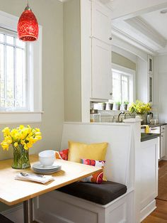 Small and Sweet Banquette define an eating area - show your small kitchen to its full potential